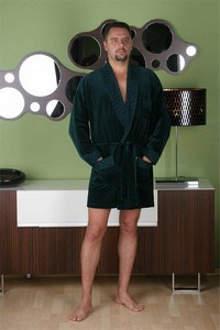 Welur bathrobe male krótki with collar, 711, De Lafense