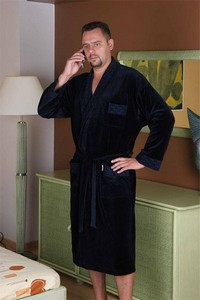 Welur bathrobe male long with collar, 712, De Lafense