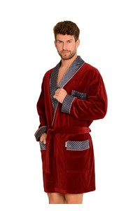 Bonjur bathrobe male krótki with collar, 772, De Lafense