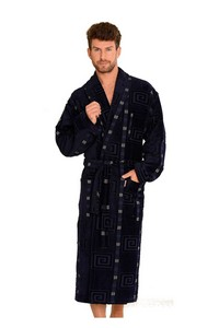 Twin frotte bathrobe male long with collar, 803, De Lafense
