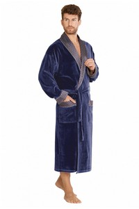 Bonjur bathrobe male long with collar, 773, De Lafense